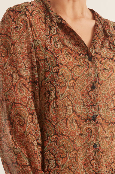 Alessia Shirt in Green/Rust Paisley