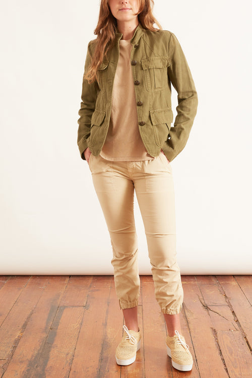 Cropped Military Pant in Almond