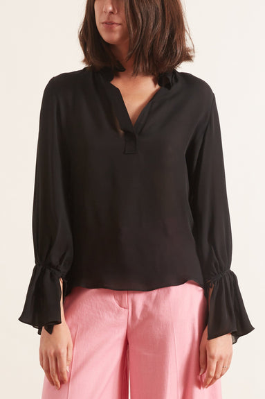 Demi Silk Top in Black