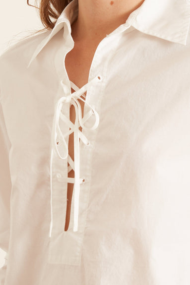 Lace Up Top in White