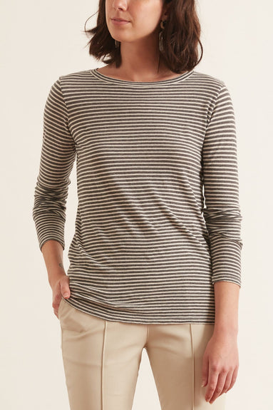 Long Sleeve Shirt in Charcoal/White Stripe