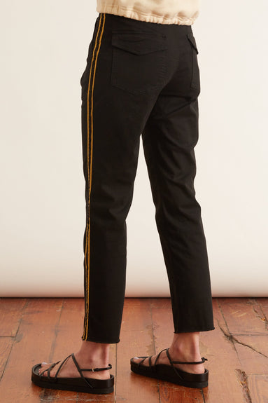 Jenna Pant with Tape in Jet Black with Gold