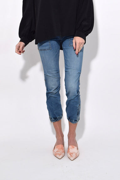 Cropped French Military Jean in Duane Wash