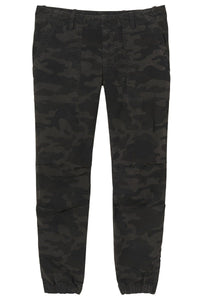 Cropped French Military Pant in Charcoal Camo Print