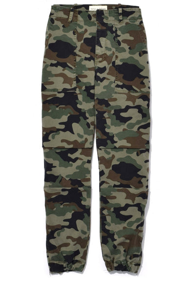Cropped French Military Pant in Light Green Camo