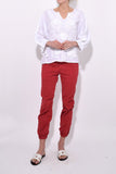 Cropped French Military Pant in Sunkissed Red
