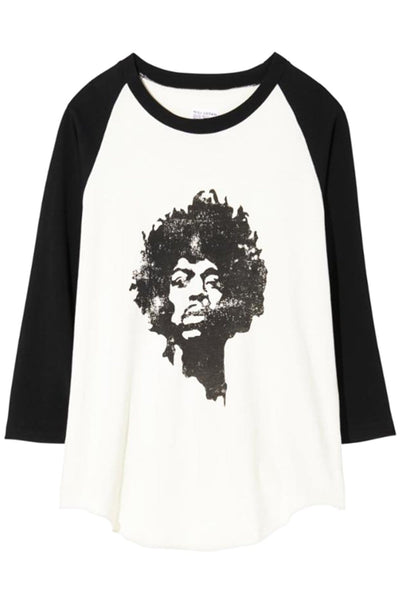 Jimi Hendrix Tee in Dirty White/Washed Black