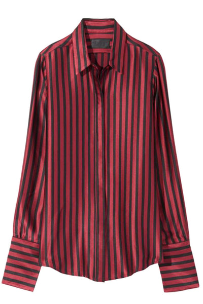 Lleida Shirt in Black/Ruby Stripe