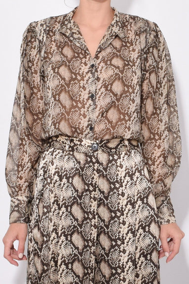 Lorena Top in Dark Brown Snake Print