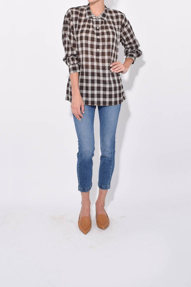 Myra Top in Mocha Plaid