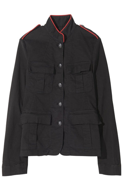 Silas Jacket in Jet Black with Red Piping