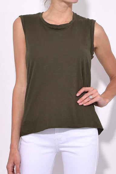 Sleeveless Muscle Tee in Army Green