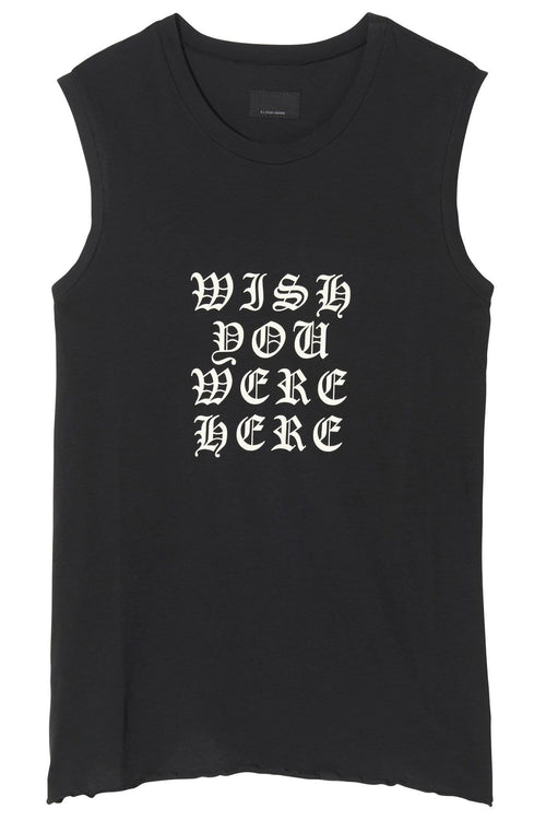 Wish You Were Here Muscle Tee in Washed Black