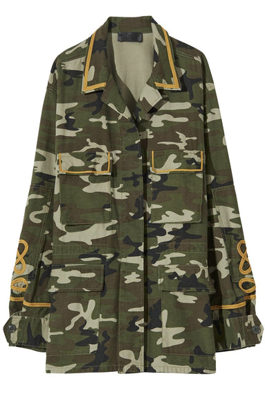 Wren Band Jacket in Green Camouflage Print