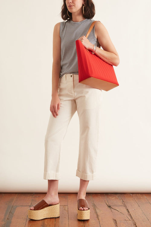 Tomboy Pant with Cuff in White Sand