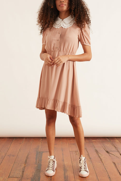 Contrast Collar Dress in Powder Rose