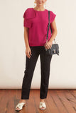 Bow Shoulder Blouse in Fuxia
