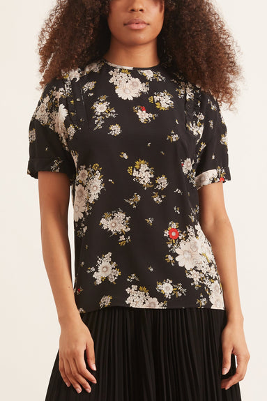 Floral T-Shirt in Nero