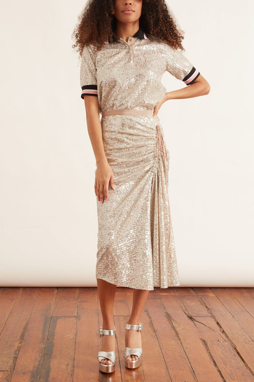 Gathered Midi Skirt in Silver
