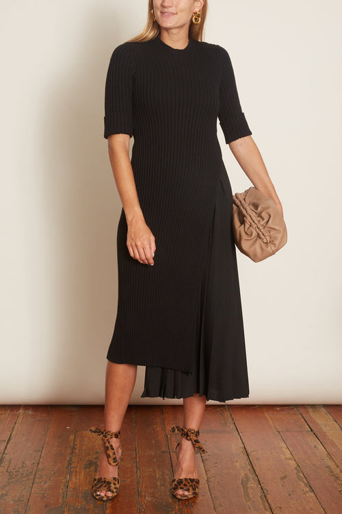 Knit Short Sleeve Dress in Black