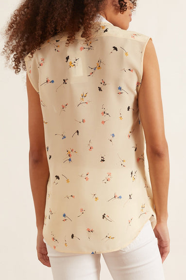 Layered Sleeveless Top in Printed White