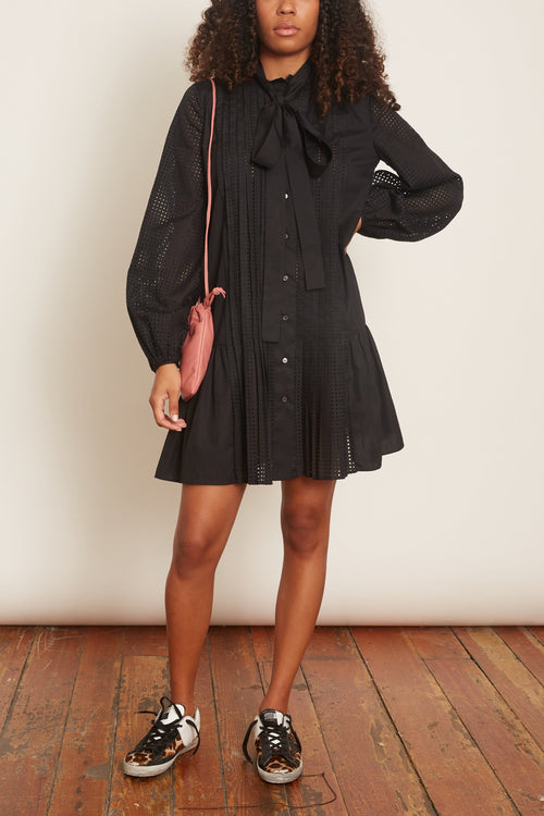 Perforated Shirt Dress in Black