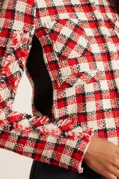 Plaid Jacket in White/Red