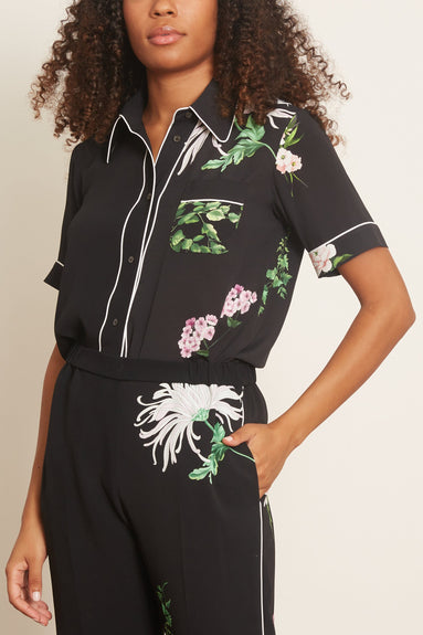 Short Sleeve Collared Flower Shirt in Stampa Fondo Nero
