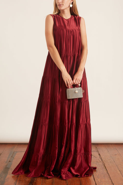 Sleeveless Tiered Maxi Dress in Bordeaux