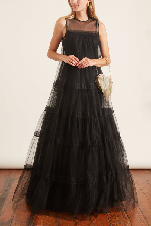 Tiered Organza Gown in Black