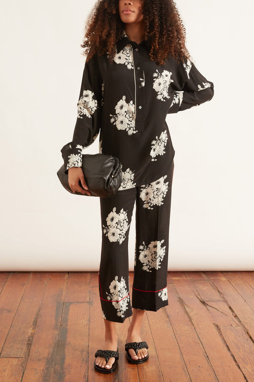 Trouser with Contrast Piping in Printed Black