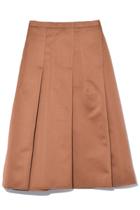 A-Line Pleated Skirt in Pale Brown