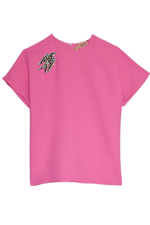 Bird Embellished Blouse in Fuchsia