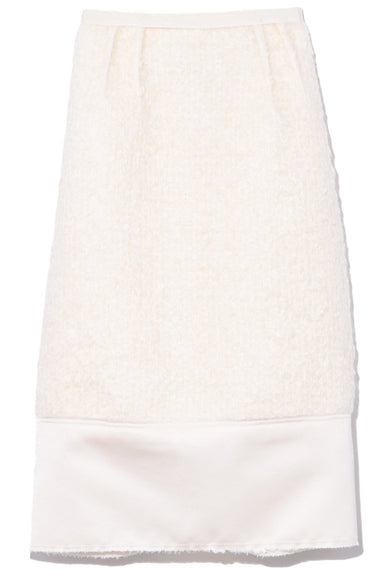 Boucle Pencil Skirt in Milky White