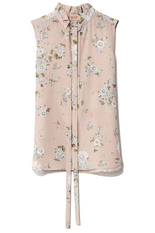 Floral Printed Sleeveless Blouse in Rosa