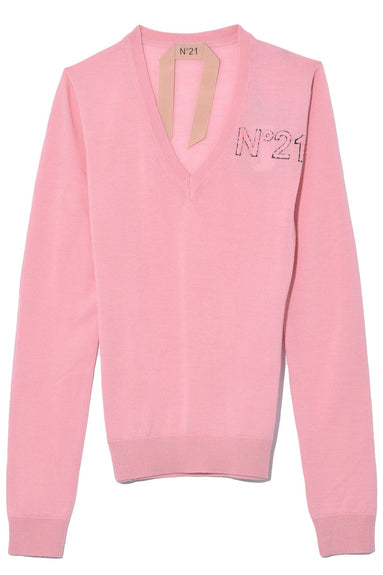 Knit Logo V-Neck in Rosa