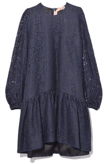 Lace A-Line Dress in Navy
