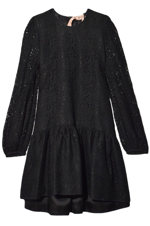Lace Sleeve A-Line Dress in Black