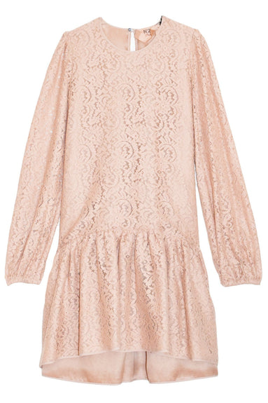 Lace Sleeve A-Line Dress in Powder Rose