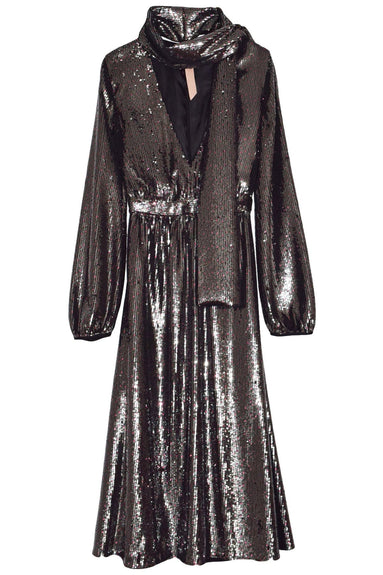 Shimmer Scarf V-Neck Dress in Metallic