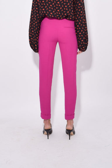 Straight Pant with Stripe in Fuschia