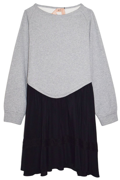 Sweatshirt Flare Dress in Melange Grey