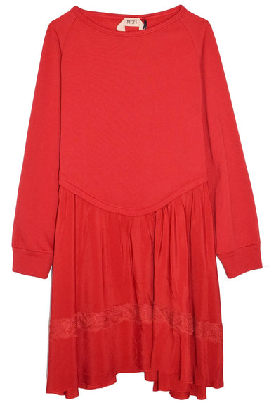 Sweatshirt Flare Dress in Red