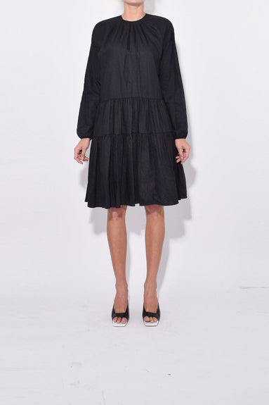 Tiered Ruffle Skirt Dress in Black
