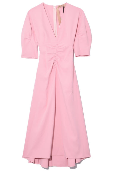 V-Neck Fit and Flare Dress in Rosa