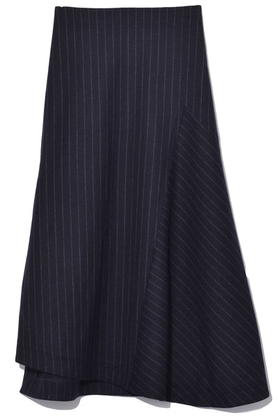 A-Line Suiting Skirt in Black/Blue