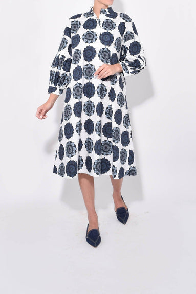 Cotton Printed Dress in Nordic Blue