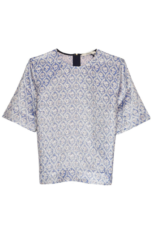 Jacquard Top in Periwinkle Blue