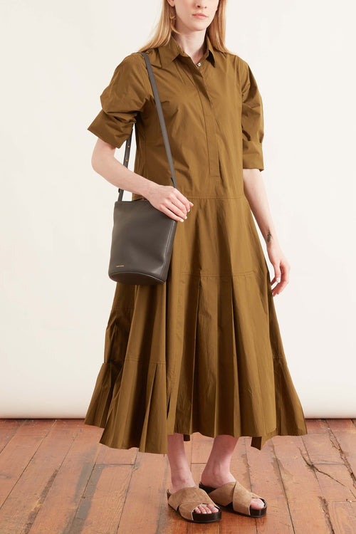 Long Pleated Dress in Gold Olive
