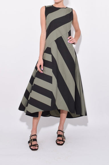 Stripe Sleeveless Dress in Olive/Black